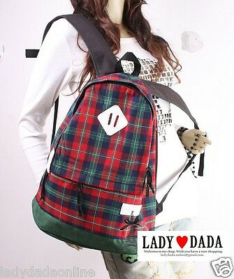 Cambridge Check Pattern Laptop Campus School Bag Vintage Backpack (Cambridge Laptop Bag)