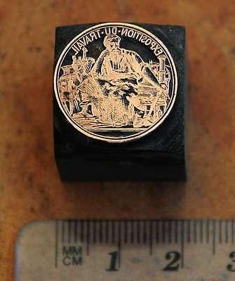 Medaille Galvano Druckstock Druckplatte Ausstellung Exposition Frankreich Druck