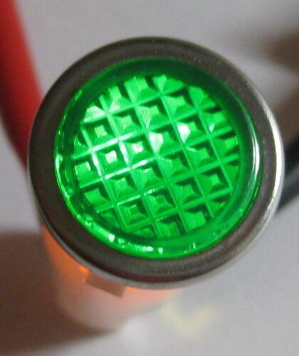 Green w/ Steel Bezel Panel Mount Round Indicator Light - Solico 14V - 1 Watt