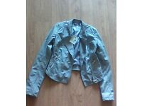 Beige/Light Camel Coloured Women's Leather Jacket - Size 12