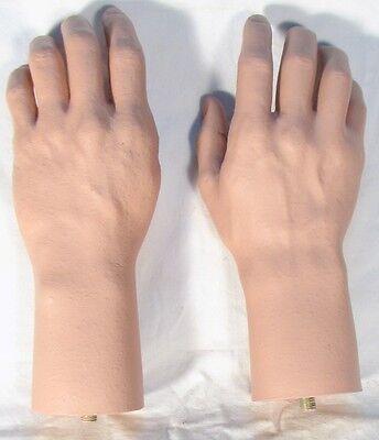 Pair Mannequin Male Hand Lifesize Lifelike Fleshtone Manikin Dummy Brand New