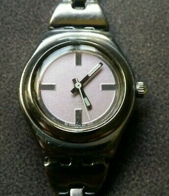 Swatch Swiss Watch AG 1999 Irony Stainless Steel Pink New Battery See Descriptio