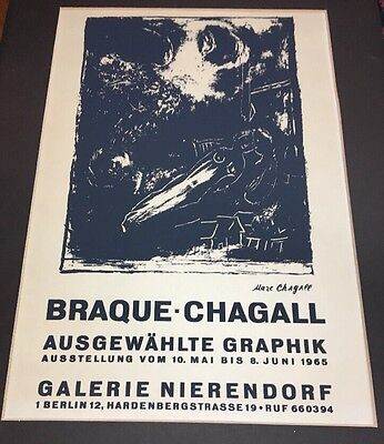 BRAQUE- CHAGALL POSTER - OFFSET LITHOGRAPH - 1965 -BERLIN GALERIE NIERENDORF