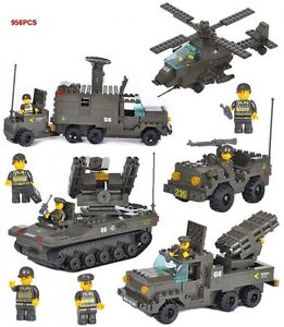 Army Rocket Truck + Jeep  Helicopter /w Figure Compatible Building Bricks 956Pcs