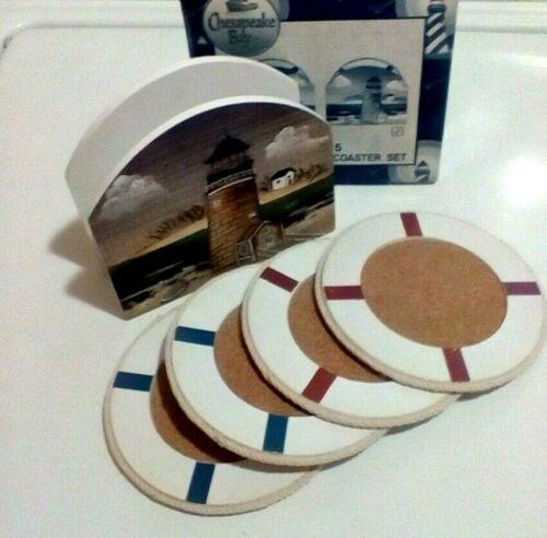 Chesapeake Bay LTD 5 Piece Wooden Holder Plus 4 Coasters Set 64405