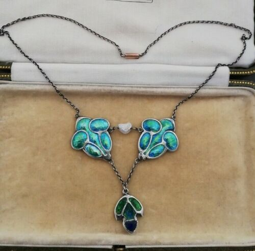 LIBERTY & Co att c1900 Sensational silver, enamel and pearl necklace- gold clasp