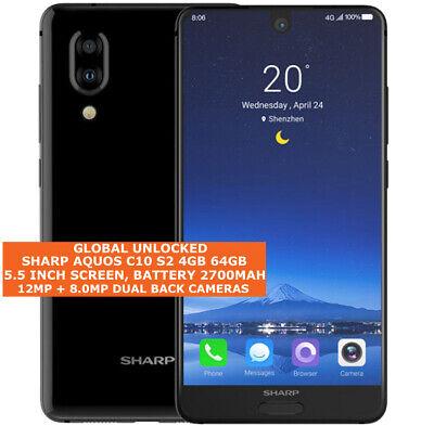 "SHARP AQUOS C10 S2 4gb 64gb Octa Core 12mp Fingerprint 5.5"" Android 8.0 4g Black"