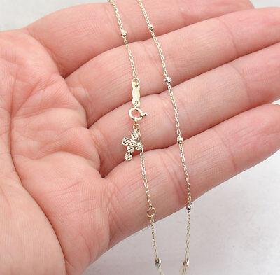 Adjustable Rosary Cross Ankle Bracelet Anklet Solid Real 14K Tri-Color Gold