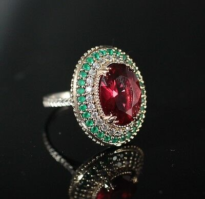 TURKISH HANDMADE RUBY TOPAZ STERLING SILVER 925K RING SIZE 6,7,8,9 and 10 #KO2