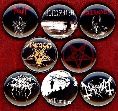 Black Metal x 8 button pin badge hell hammer dark throne mayhem celtic frost