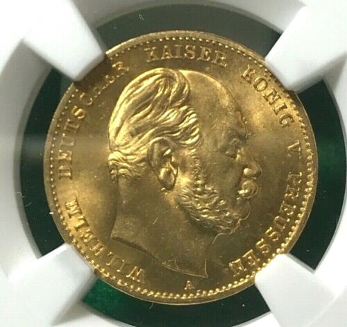 PRUSSIA GOLD 10 MARKS 1872 NGC MS 66