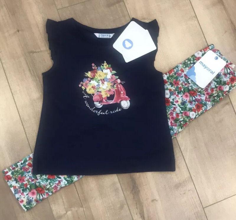 Mayoral Girls Matching Outfit Top Pants Set NWT Navy Scoter Floral Pants Sz 5