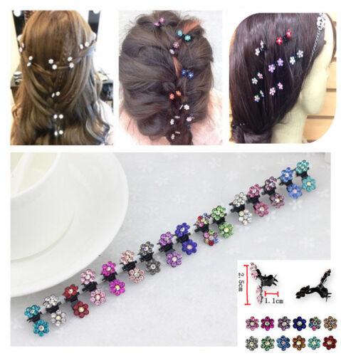 12x Mini Crystal Flowers Metal Hair Claws Hair Clips Girls Hairstyle Hairpins Uk