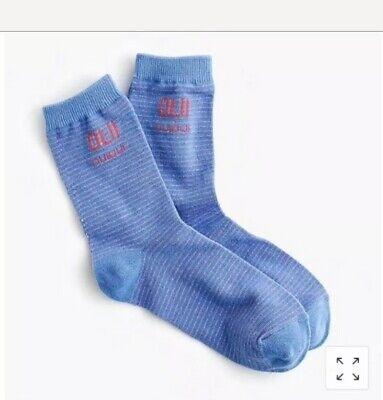 NWT J. Crew Women's Trouser Socks in Lurex Francophone Stripes
