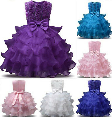 Flower Girl Princess Organza Gown Baby Kids Party Birthday Formal Tutu Dresses - Flower Girl Dresses Organza