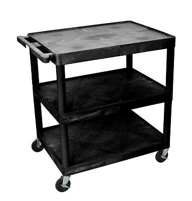 Luxor Utility Cart - 3 Shelves Structural Foam Plastic HE33-B Cart NEW