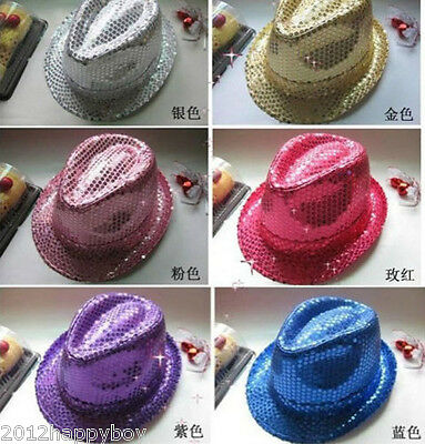 1Pc Glitter Sequin Fedora Trilby Cap Dance Jazz Hat Gangster Costume Accessories - Sequin Fedora