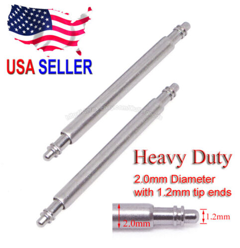 20mm 22mm Heavy Duty 2.0mm Spring Bar w/ 1.2mm Tip Ends for Seiko Citizen Diver