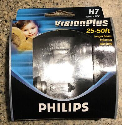 Genuine Philips Vision Plus H7 12972 - 12V Halogen Bulbs 25-50ft Longer Beam OEM