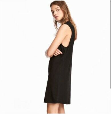 H&M Basics | Black Sleeveless Jersey Cinched Dress Womens Size Large