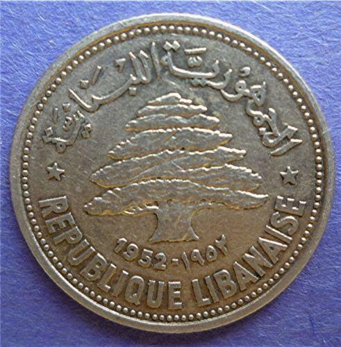 1952 LEBANON - 50 PIASTRES - CEDAR TREE - SILVER - KM# 17 - BEAUTY!