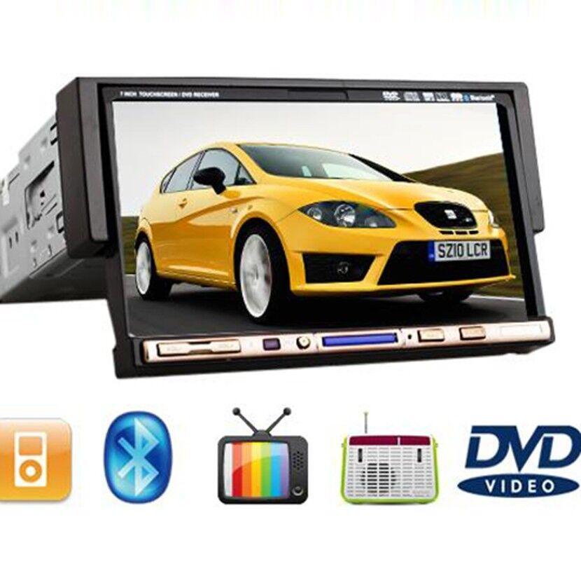 "Road Media Single DIN Indash 7"" Car Stereo Audio DVD Player iPod TV  BT Radio"
