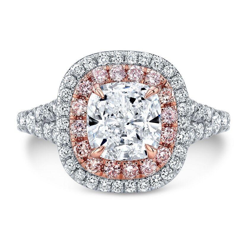 Platinum 4.05 Ct Cushion Cut Dual Halo & Pink Diamond Engagement Ring G,VS2 GIA  1