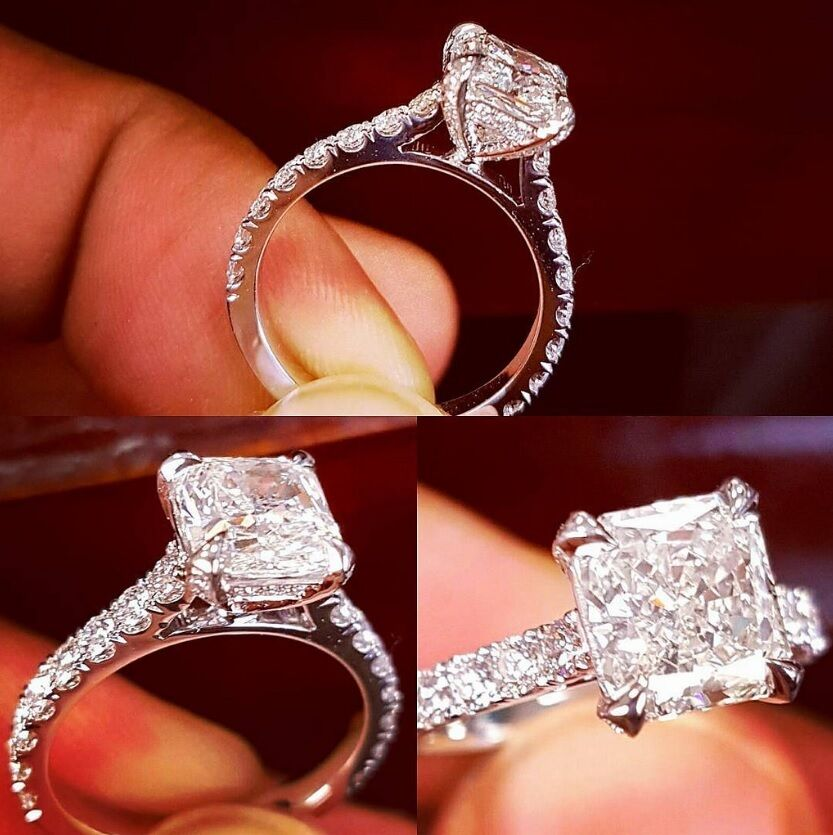 2.10 Ct Radiant Cut Natural Diamond Engagement Ring H,VS2 GIA Platinum