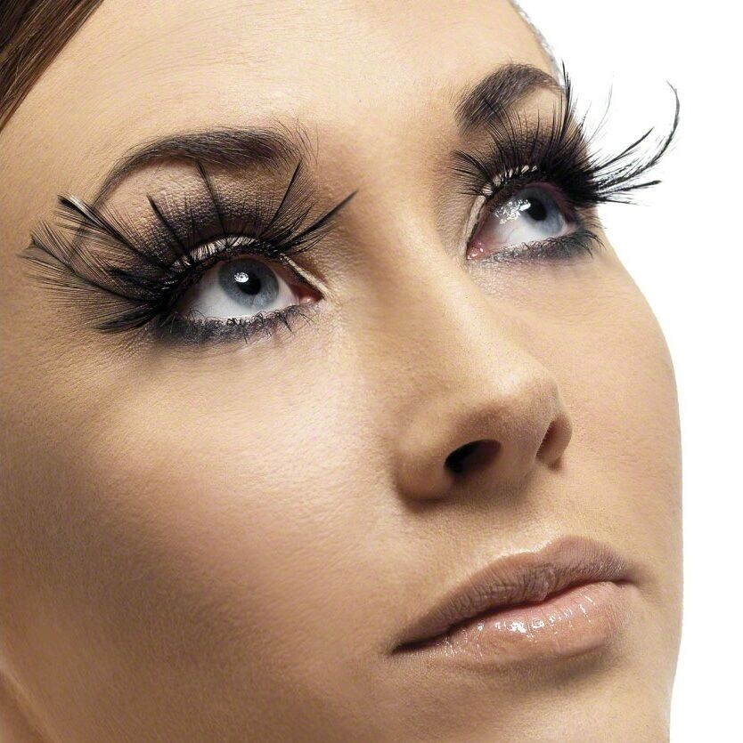 Ladies Long Black Feather False Eyelashes Burlesque Drag Halloween