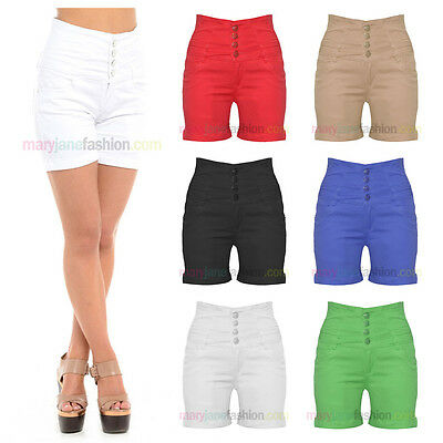 Womens Ladies High Waisted Coloured Denim Hot Pants Turn Up Shorts 6 8 10 12 14