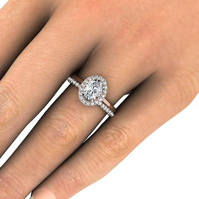 2.10 Ct. Oval Cut Halo Pave Natural Diamond Wedding Set - GIA Certified &  1
