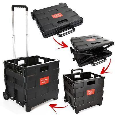 25kg Folding Shopping Trolley Wheeled Luggage Storage Cart Foldable Boot Box