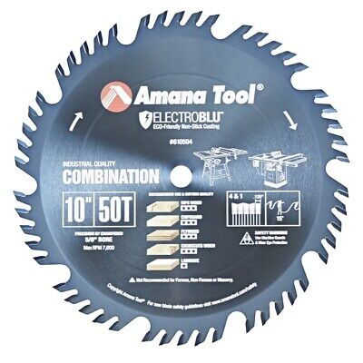 Amana 610504c Electro-blu Carbide Tipped Combination Ripping And Crosscut 10 D