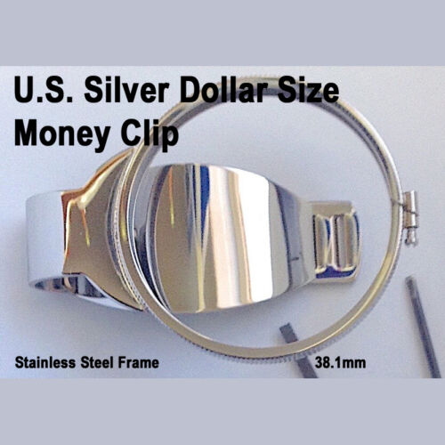 Silver Dollar Size Money Clip Stainless Coin Holder Bezel Morgan Peace Liberty