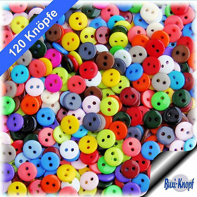 120 kleine bunte Kinderknöpfe - 9mm - 10 x 12 Farben - Knopf Knöpfe Scrapbooking