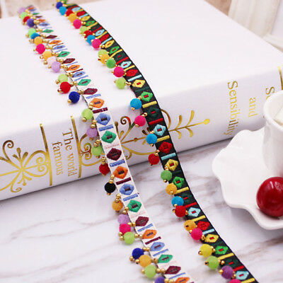 - 2yds Tassel Lace Trim Ethnic Embroidery Ribbon Pompom Beads Fabric 0.39'' Width