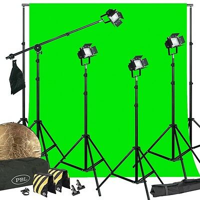 (LED Photography Kit 200W Video Lights  Barndoors Boom Chromakey Support System )