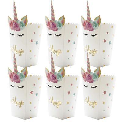 Mini Popcorn Bags (6pcs Mini Popcorn Boxes Unicorn Baby Shower Paper Bags Birthday Party)