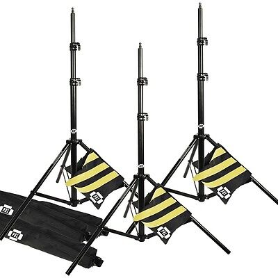 PBL Pro 10ft Heavy Duty Light Stands All Metal Locking Collar Sandbags Set of 3