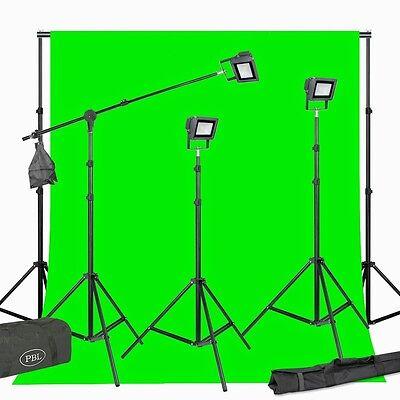 (Video Photo Light Kit LED  Green ChromaKey Boom Stand Steve Kaeser )