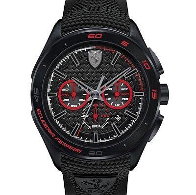 New Scuderia Ferrari Watch  Mens Chronograph Black Red Gran Premio 830344 45Mm