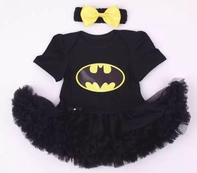 BABY GIRL BATMAN BATGIRL ROMPER TUTU COSTUME SET with free headband SIZE 000-2  - Infant Batgirl Costume