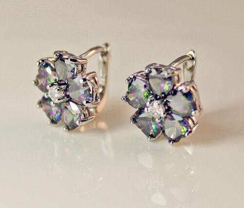 18K White Gold Filled - MYSTICAL Rainbow Topaz Clover Flower Lady Stud Earrings