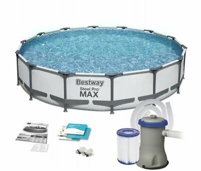 GARDEN SWIMMING POOL 427 cm 14FT Round Frame Above Ground Pool with...