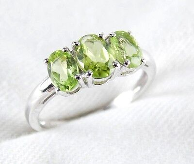 (Genuine Peridot 3 Stone Ring 1.99ct in 925 Sterling Silver Size 6.5 )