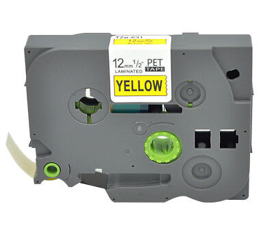 Black On Yellow Compatible Brother Tz 631 Tze-631 P-touch Label Maker Tape 12mm