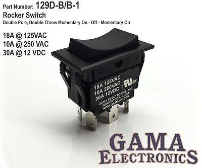 30 Amp DPDT Momentary On-Off-Momentary On Rocker Switch - 129D-B/B-1