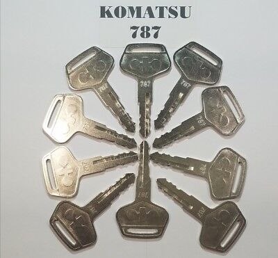 10 Komatsu Keys 787 For Excavator Dozer Loader Heavy Equipment With Logo.