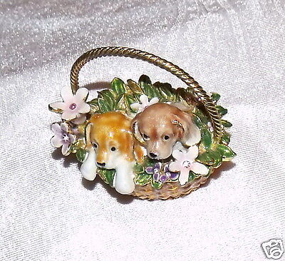 Metal alloyed two dogs in basket Jewelry Box trinket box for Jewerly Storage