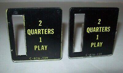 2 Quarters 1 Play Pinball Machine C-826-139 Bally Stern Game Plastic Coin Plates